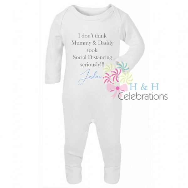 Mummy, Daddy Social Distancing Personalised Baby Romper